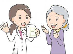 Female pharmacist and old woman
